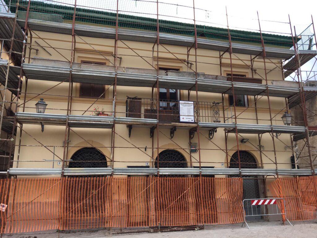 Un cantiere della ricostruzione post sisma