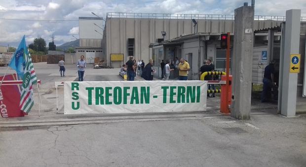 Una protesta degli operai della Treofan