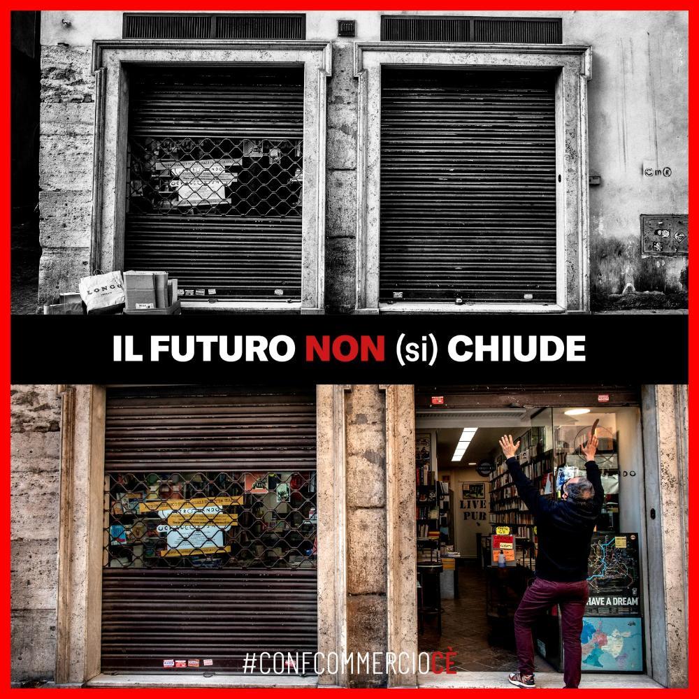 Il logo della campagna di Confcommercio 'Il Futuro non (si) chiude'