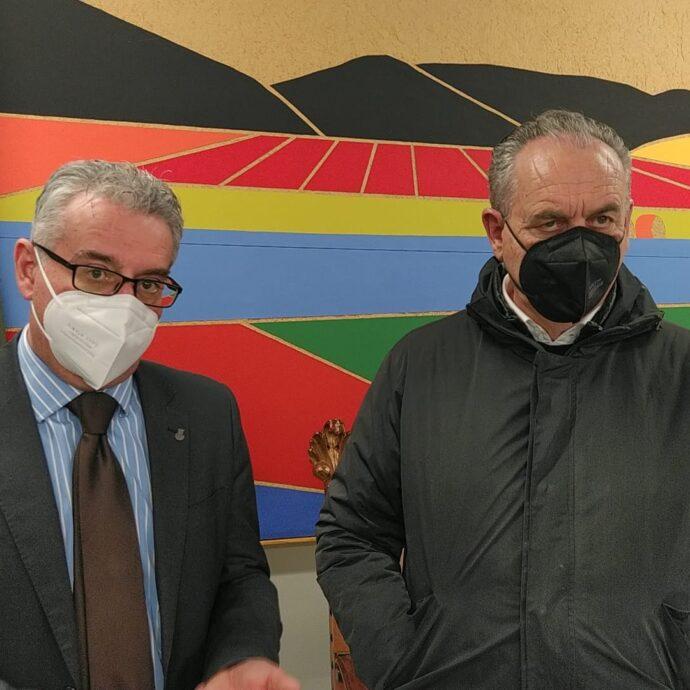 Il commissario per la ricostruzione Legnini e il sindaco di Norcia Alemanno