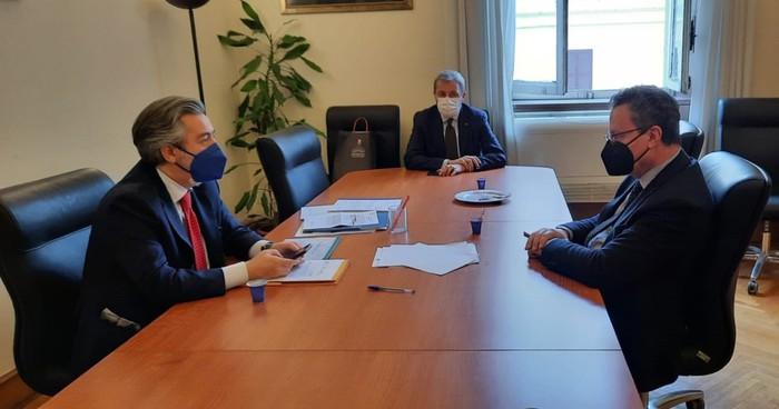 Incontro tra l'assessore all'Agricoltura della Regione Umbria, Roberto Morroni, e il Sottosegretario di Stato alle Politiche agricole, Francesco Battistoni